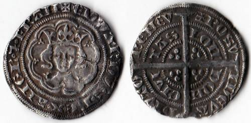 Edward III Series B 1/2 Groat - (Unrecorded Reverse Variety)