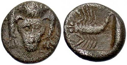 Lion facing, scorpion reverse