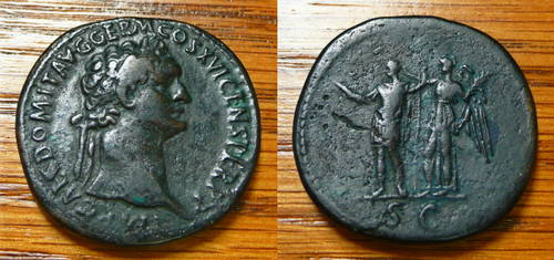 Domitian Sestertius Victory crowning Domitian