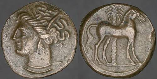 AE16, Carthage in Zeugitania, late 4th century BCE, cf. Sear 6444